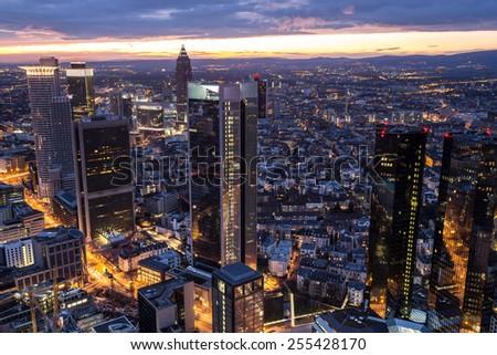 frankfurt am main germany cityscape evening - stock photo