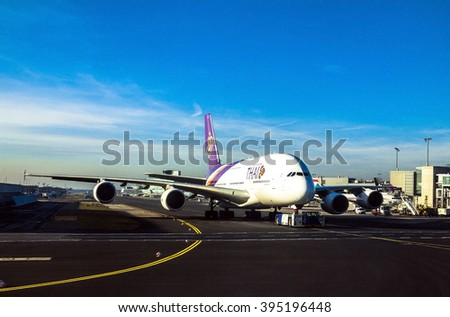 FRANKFURT AM MAIN, GERMANY - DECEMBER 28, 2015: A Thai Airways Airbus A380 in in international airport.