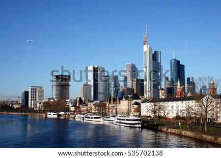 FRANKFURT AM MAIN, GERMANY, DECEMBER The 4th 2016: Banking district in Frankfurt am Main taken from the river bank, Germany, Europe.