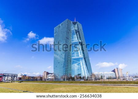FRANKFURT AM MAIN, GERMANY -  FEB 28, 2015: The new seat of the European Central Bank in Frankfurt am Main, Germany. A 185 165-metre-twin-skyscraper located east of the city centre. - stock photo