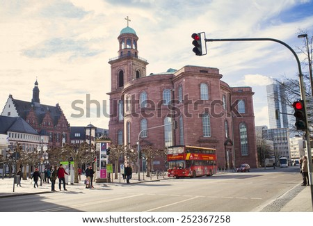 FRANKFURT AM MAIN, GERMANY - FEBRUARY 8, 2015: Built in 1789, St. Paul's Church is a church with important political symbolism in Germany. Photo taken on February 8, 2015 in Frankfurt am Main city.  - stock photo