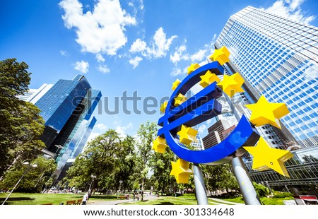 FRANKFURT AM MAIN, GERMANY, JULY 25, 2015: Euro currency sign in downtown of Frankfurt near old headquarters of the European Central Bank or ECB