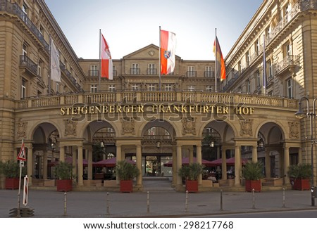 FRANKFURT AM MAIN, GERMANY - JULY 2, 2015: View at the Hotel Steigenberger Frankfurter Hof in the downtown district of Frankfurt. The building was constructed from 1872 to 1876 by Karl Jonas Mylius. - stock photo