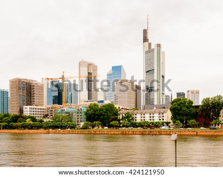 FRANKFURT AM MAIN, GERMANY - JUNE 11, 2015: Main river in Frankfurt am Main, Germany. Frankfurt is the largest city in the German state of Hesse