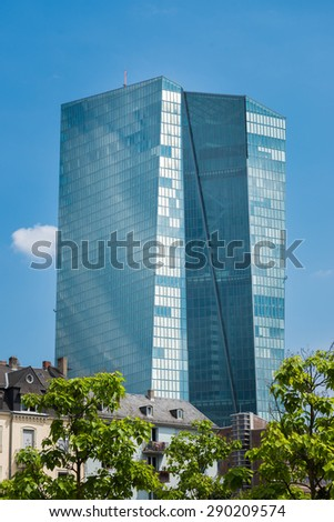 FRANKFURT AM MAIN, GERMANY - June 11, 2014: New modern building of the European Central Bank, ECB in Frankfurt.