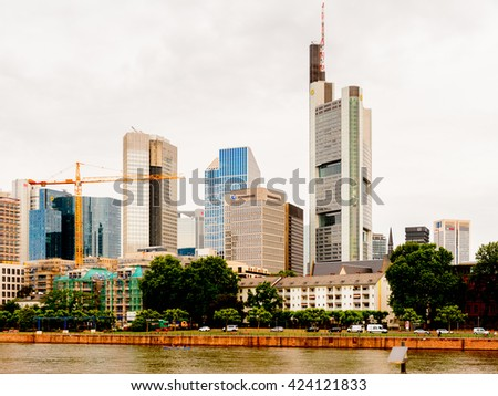 FRANKFURT AM MAIN, GERMANY - JUNE 11, 2015: Skyscapers of Frankfurt am Main, Germany. Frankfurt is the largest city in the German state of Hesse