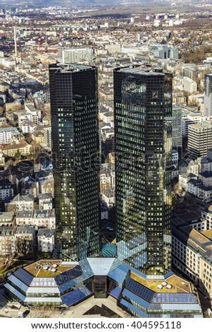 FRANKFURT AM MAIN, GERMANY - MAR 3, 2015: Top view of 155 meter high Deutsche Bank Twin Towers in the central business district of Frankfurt, the largest financial center in Europe.