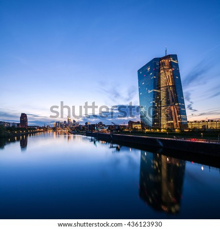 FRANKFURT AM MAIN, GERMANY - MAY 12, 2016: new modern Headquarters of the European Central Bank, ECB in Frankfurt