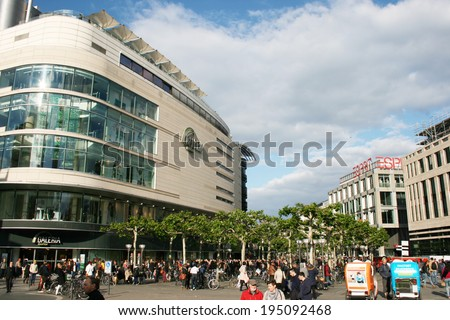 FRANKFURT AM MAIN, GERMANY, MAY The 3rd 2014: A view at The Zeil Street, Frankfurt's main shopping district. Picture taken: 03. May 2014.