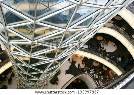 FRANKFURT AM MAIN, GERMANY, MAY The 3rd 2014:  The MyZeil is a shopping mall in the city center of Frankfurt am Main, designed by Roman architect Massimiliano Fuksas.