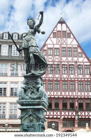 FRANKFURT AM MAIN, GERMANY, MAY The 1st 2014:Justitia Statue at the Romer square, one of the oldest and most historic sections of Frankfurt am Main, Germany, Europe.