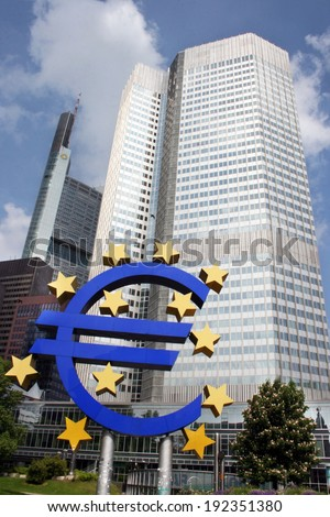 FRANKFURT AM MAIN, GERMANY, MAY The 1st 2014: The European Central Bank (ECB), situated in Frankfurt, Germany  is the central bank for the euro and administers the monetary policy of the Eurozone.