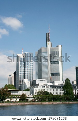 FRANKFURT AM MAIN, GERMANY, MAY The 4th 2014:  Banking district in  Frankfurt am Main taken from the river bank, Germany, Europe. Picture taken on May the 4th 2014.