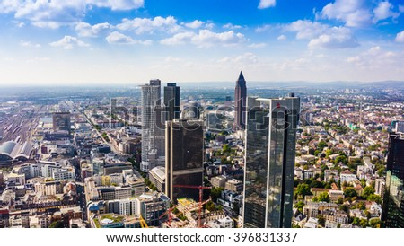 FRANKFURT AM MAIN, GERMANY - SEPTEMBER 20, 2015: Aerial view of the central business district from the observatory deck of the Mian tower