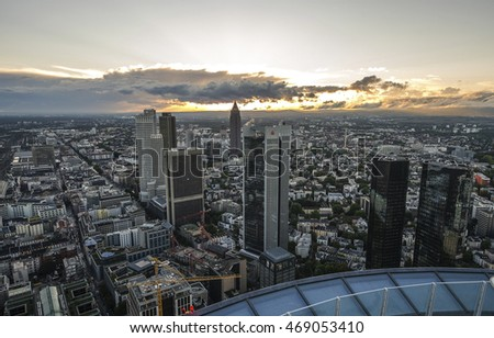 Frankfurt am Main - Germany, September 11, 2015. Modern skyline of Frankfurt at sunset time, Germany financial business district.