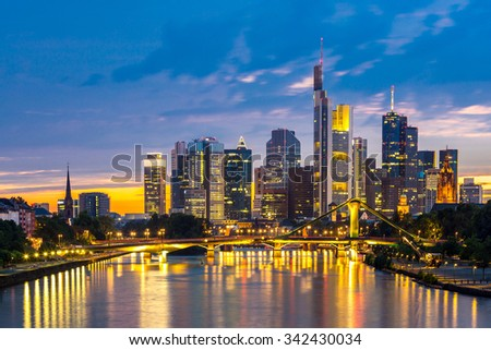 Frankfurt am Mine Skyscraper skyline building at dusk Germany - stock photo