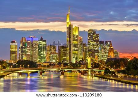 Frankfurt at night, Germany - stock photo
