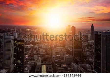 Frankfurt at sunset - stock photo
