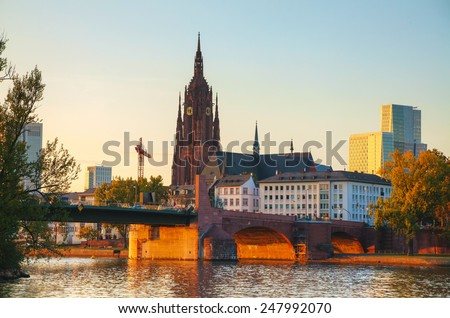 Frankfurt Cathedral in Frankfurt am Main at sunset - stock photo