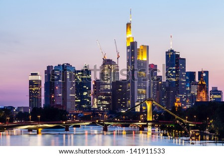 Frankfurt city skyline on sunset