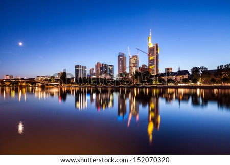 Frankfurt city skyscrapers in downtown at night - stock photo
