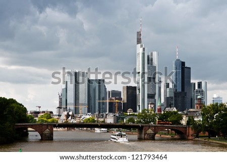 Frankfurt city skyscrapers in the downtown - stock photo
