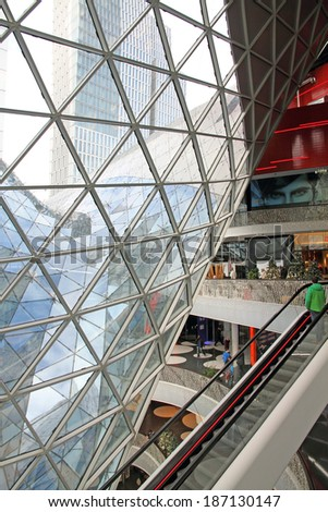 FRANKFURT - DECEMBER 9: MyZeil Shopping Mall indoor on Christmas time  in the central business and commercial district of Frankfurt am Main, on December 9, 2013 in Germany.
