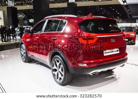 Frankfurt, Deutschland - September 15, 2015: 2016 Kia Sportage presented on the 66th International Motor Show in the Messe Frankfurt