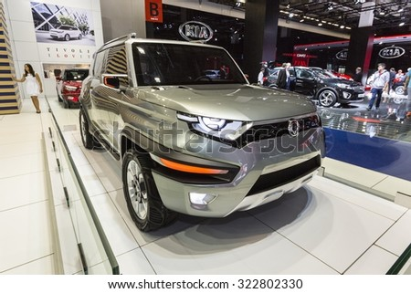 Frankfurt, Deutschland - September 15, 2015: 2015 SsangYong XAV-Adventure Concept presented on the 66th International Motor Show in the Messe Frankfurt
