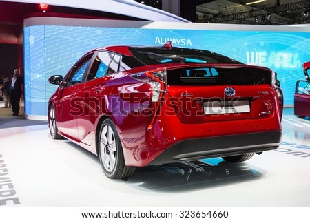 Frankfurt, Deutschland - September 15, 2015: 2016 Toyota Prius presented on the 66th International Motor Show in the Messe Frankfurt - stock photo