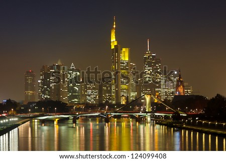 Frankfurt Financial District at Night Reflecting in the Main River. - stock photo