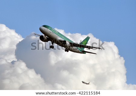 FRANKFURT,GERMANY-APRIL 07:Airbus A320 of Aer Lingus Group above the Frankfurt airport on April 07,2016 in Frankfurt,Germany.Aer Lingus-national airline of Ireland,second largest airline in Ireland.