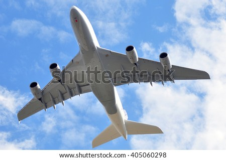 FRANKFURT,GERMANY-APRIL 07:Airbus A380-800 of Lufthansa over Frankfurt airport on April 07,2016 in Frankfurt,Germany.Lufthansa is a German airline and also the largest airline in Europe.