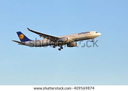 FRANKFURT,GERMANY-APRIL 21:Airbus A330-300 of Lufthansa  over Frankfurt airport on April 21,2016 in Frankfurt,Germany.Lufthansa-German airline and also the largest airline in Europe.