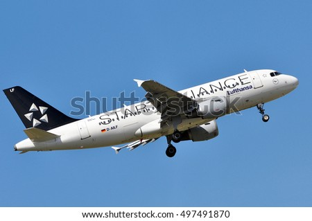 FRANKFURT,GERMANY-APRIL 21:Airbus 319-100 of Lufthansa above Frankfurt airport on April 21,2016 in Frankfurt,Germany.Lufthansa-German airline and also the largest airline in Europe.