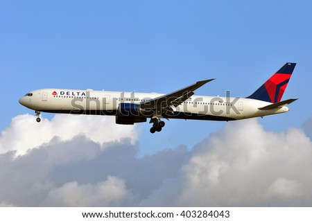 FRANKFURT,GERMANY-APRIL 07:airplane of Delta Air Lines in the Frankfurt airport on April 07,2016 in Frankfurt,Germany.Delta Air Lines, Delta short, is an American airline based in Atlanta.