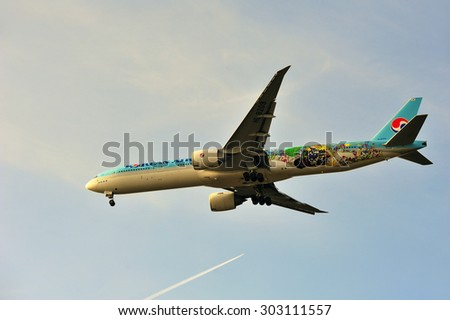 FRANKFURT,GERMANY-APRIL 10:airplane of Korean Air on April 10,2015 in Frankfurt,Germany.Korean Air Lines Co., Ltd., operating as Korean Air, is the largest airline in South Korea.