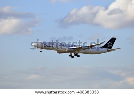 FRANKFURT,GERMANY-APRIL 07:Airplane of LUFTHANSA over Frankfurt airport on April 07,2015 in Frankfurt,Germany.Lufthansa is a German airline and also the largest airline in Europe.