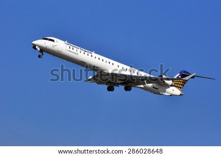 FRANKFURT,GERMANY-APRIL 10: airplane of Lufthansa Regional on April 10,2015 in Frankfurt,Germany