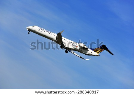 FRANKFURT,GERMANY-APRIL 10:airplane of Lufthansa Regional on April 10,2015 in Frankfurt,Germany