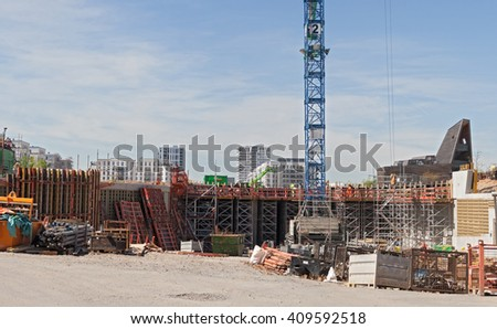 FRANKFURT, GERMANY - APRIL 22, 2016: construction of a road tunnel under the new frankfurter city district europaviertel Germany