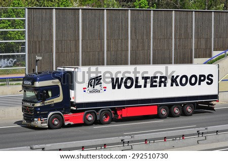 FRANKFURT,GERMANY-APRIL 24:SCANIA truck on April 24,2015 in Frankfurt,Germany