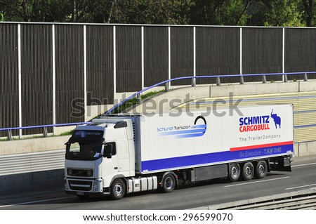 FRANKFURT,GERMANY-APRIL 24:SCHMITZ CARGOBULL truck on the higway on April 24,2015 in Frankfurt,Germany.