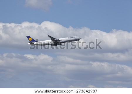 FRANKFURT, GERMANY - APRIL, 18. The Airbus A340-400 named Gladbeck of Lufthansa takes off at Frankfurt International Airport (Germany, FRA) on April 18, 2015.