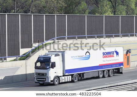 FRANKFURT,GERMANY - APRIL 24: truck of SCHNITZ CARGOBULL on the routeon April24,2015 in Frankfurt, Germany.