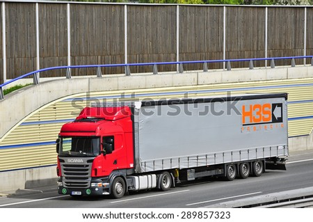 FRANKFURT,GERMANY-APRIL 16: truck  on April 16,2015 in Frankfurt,Germany