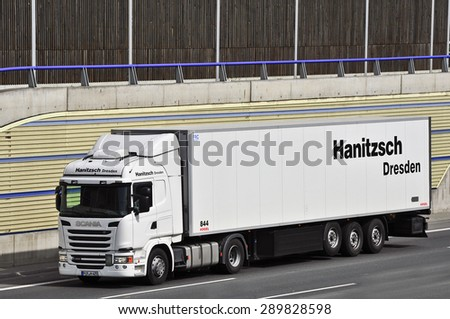 FRANKFURT,GERMANY-APRIL 16: truck on the highway on April 16,2015 in Frankfurt,Germany. Image ID: 288074828