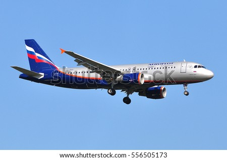 FRANKFURT,GERMANY-AUG 18: Aeroflot Airbus A320 approaching Frankfurt airport on August 18,2016 in Frankfurt,Germany.Aeroflot is the largest Russian airline is headquartered in Moscow.
