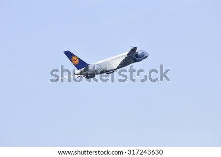 FRANKFURT,GERMANY-AUG 21:airplane of Lufthansa above the Frankfurt airport on August 21,2015 in Frankfurt,Germany. Lufthansa AG is a German airline and also the largest airline in Europe.