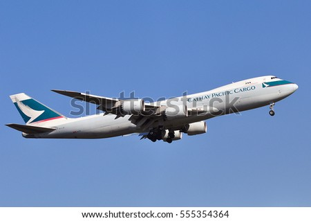 FRANKFURT,GERMANY-AUG 25: Cathay Pacific  Cargo Boeing 747 in the blue sky on August 25,2016 in Frankfurt,Germany.Cathay Pacific  is the flag carrier of Hong Kong